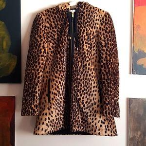 Zara trafaluc leopard print faux fur coat